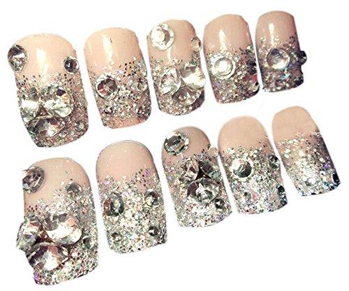 24 pièce wedding beau style de maquillage / 3D Design faux ongles, couleur nude