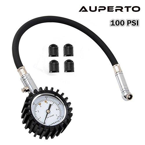 Auperto-manometro-per-pneumatici-resistente-per-auto-e-moto-con-tubo-flessibile-100-psi