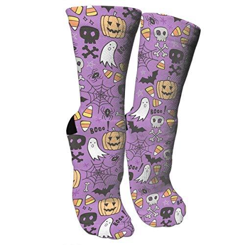 rful Patterned Socks Compression Socks for Halloween Doodle with Skulls Bat Crew Socks ()
