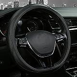 Cubierta Volante de cuero volante funda coche tipo D , cómodo rueda pantalla transpirable y protección Durable seguridad