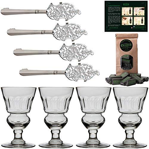 ALANDIA Absinth-Zubehör Set Best   4X Absinth-Gläser handgemacht   4X Absinth-Löffel   1X Absinth-Zuckerwürfel