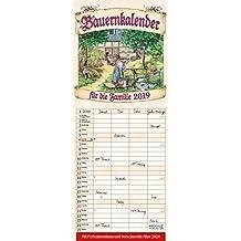 Bauernkalender 2019: Familienplaner - 4 große Spalten mit viel Platz. Hochwertiger Familienkalender mit netten Bildern, Ferienterminen und Vorschau bis März 2020. 19 x 47 cm.