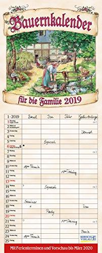Bauernkalender Familienplaner 238819 2019: Familienplaner - 4 große Spalten mit viel Platz. Hochwertiger Familienkalender mit netten Bildern, Ferienterminen und Vorschau bis März 2020. 19 x 47 cm. -