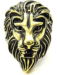 mendino para hombre Joyas Roaring Gothic Lion King grabado Tallado Vintage tono de oro Impresionante Anillo de acero inoxidable