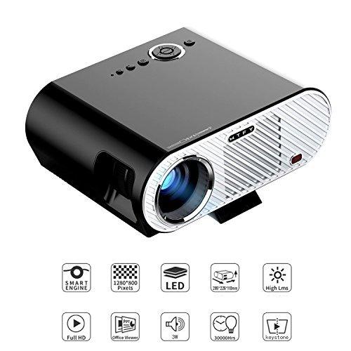 GP90 Videoprojektor, 3200 Lumen LCD 1080P Full-HD LED Bewegliche Multimedia-Heimkino-Projektoren für Film, Fernsehapparate, Laptope, Spiele, DVD, PC, Laptop Unterstützung HDMI, USB, VGA, (GP-90)