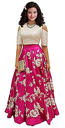 Leons Fab Pink Embroidered Semi Stitched Kids Lehenga Choli (Comfortable to 8-12 Year Girls)