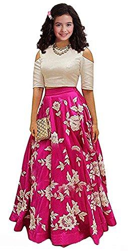 Leons Fab Pink Embroidered Semi Stitched Kids Lehenga Choli (Comfortable to 8-12 Year Girls)