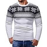 Weihnachten Herren Sweatshirt, Elecenty Männer Shirt Gedruckt Top Herren Langarm Strickpulli Strickwaren Gestrickt Bluse Oberteile