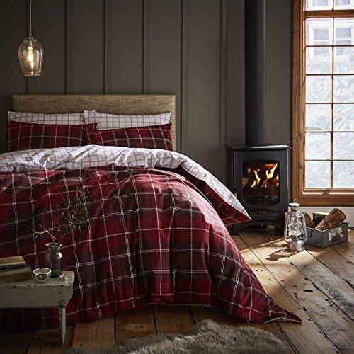 Tartan Check Red Doppel Bettbezug Set mit Kissenbezüge Feinbiber gebürstet Baumwolle Catherine Lansfield