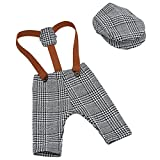 YeahiBaby Accesorios de fotografía de bebé recién nacido Pantalones de liguero de cuadros escoceses y trajes de traje de tapa en pico para niñas (Gris)