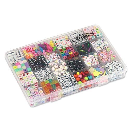 Ewparts Alphabet Brief Perlen, Kunststoff Perlen für Mädchen DIY Schmuck Machen Halskette und Armband Kinder Spielzeug Set (Alphabet) (24 in 1 Beads kit)