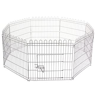 AllRight 8 Piece Pet Play Pen Dog Puppy Animal Rabbit Playpen Cage Folding Run Fence