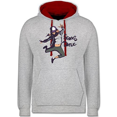 Tanzsport - Street Dance Girl - Kontrast Hoodie Grau Meliert/Rot