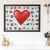 Hochzeit Puzzle zum Bemalen im Bilderrahmen aus Echtholz - Puzzle zum Aufhängen mit 48 Teilen - Originelles Hochzeitsgeschenk- Kreative Idee für ein Gästebuch - 65 cm x 50 cm x 2 cm