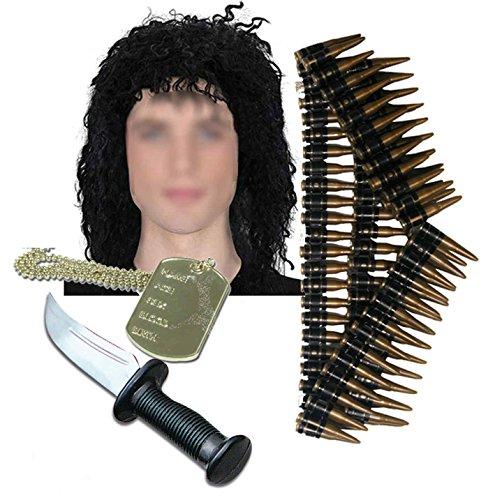 Rambo Herren Army 80er Kostüm, Perücke Messer Dog Tag & Bullet (Kostüme Rambo)