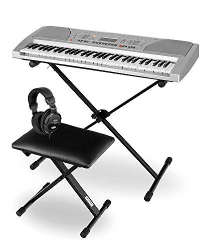Funkey Deluxe Kit 61 Tasten Keyboard Set (inkl. passendem Ständer, bequemer Bank und hochwertigem Kopfhörer) silber