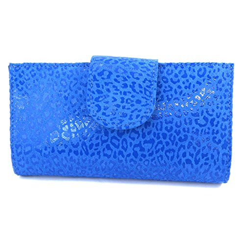 Leder-scheckheft inhaber 'Frandi'capri blau (leopard). -