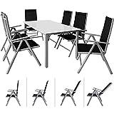 Casaria Sitzgruppe Bern 6+1 | Aluminium | 7-Fach verstellbare Hochlehner | Milchglas Tisch | Silber...