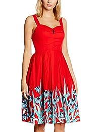 Lindy Bop Damen Kleid Bernice Red Tulip