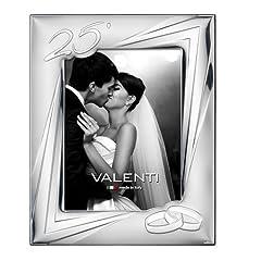 Idea Regalo - Valenti&Co - Cornice Portafoto in Argento cm 13x18. Ideale Come Regalo per Nozze d'Argento - 25 Anni di Matrimonio o per Il venticinquesimo di parenti o Mamma e papà.