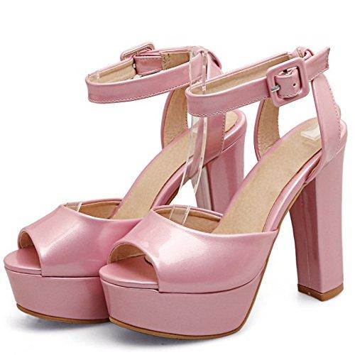 TAOFFEN Femmes Peep Toe Sandales Occidental Bloc Talons Hauts Plateforme Sangle De Cheville Chaussures Rose