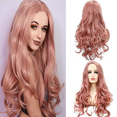 Parrucca rosa lunga donna parrucche sintetica riccia cosplay parrucca ondulata festa halloween (rosa)