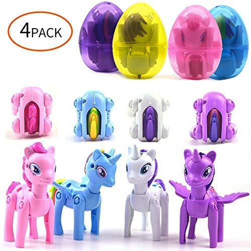 YNOUU Jumbo Pony Einhorn Deformation Ostereier mit Spielzeug im Inneren Osterkörbchen Füller Ostergeschenk für Kinder Jungen Mädchen Kleinkinder (4 Stück), Einheitsgröße (Im Kleinkind-spielzeug Inneren)