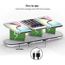 Kobwa Qi Cargador inalámbrico, triple inalámbrico carga Soporte con 2puertos USB para Apple iPhone 8/8Plus, iPhone X, Samsung Galaxy Note 8S8S8Plus S7Edge S7S6Edge Plus Ordenador 5, Weiß