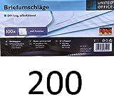 Briefumschläge Made in Germany, DIN lang, selbstklebend mit Fenster, Folienpack eingeschweißt, weiß, geeignet für Deutsche Post Standard Brief und Kompaktbrief (200)