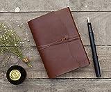 Regali San Valentino, Giornale in pelle taccuino Diario Plain Braun Viaggi carte fatte a mano in bianco con striscia di cuoio 15 x 10 cm