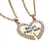 Contever® 1 Satz 2 Stück Simulierter Diamant Halbherzanhänger Beste Freunde Halskette Freundschaft Geschenk, Halskette Länge: 50 cm (Golden)
