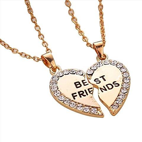 Contever® 1 Set of 2pcs Simulated Diamond Half Love Heart Pendant Best Friends Necklace Friendship Gift ,necklace length: 50 cm - Golden
