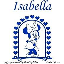 Minnie mouse en que practique nombre y cuadros con 60 cm x 40 cm color Azure azul Disney, diseño de princesas Disney, diseño de corazones, de la serie, nombre personalizada, en forma de cubo para, niños juego de pegatinas decorativas, vinilo de coche, Windows y adhesivo decorativo para pared, diseño de pared Windows, adhesivo, diseño de vinilo adhesivo para ThatVinylPlace