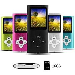 Btopllc Lecteur de musique MP3 / MP4 portable et compact, musique numérique, lecteur d'image Carte mémoire intégrée de 16 Go, livre électronique, média, lecteur vidéo (noir)