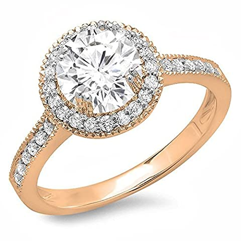 1.15 Carat (ctw) 14 ct Rose Gold Round White Diamond Ladies Bridal Halo Style Engagement Ring