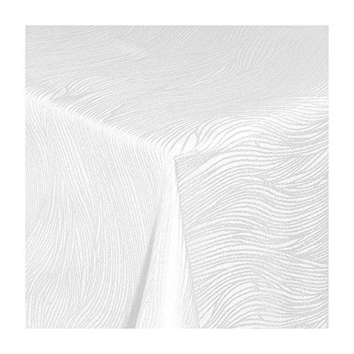 TEXMAXX Damast Tischdecke Maßanfertigung im Fantasia-Design in weiss 110x190 cm eckig, we