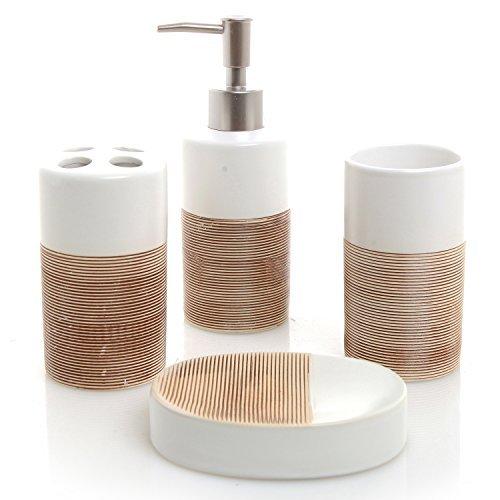 MyGift Deluxe 4-Teiliges Keramik Bad-Set W/Seifenspender, Zahnputzbecher, Seifenschale und Modern Weiß