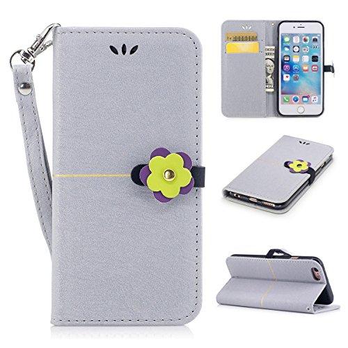 iPhone 6plus Hülle,Fodlon® Mode Gold Samt Pflaume Blühen Kopf Karte Schlitze mit Schlüsselband Telefon Schutzhülle -Marine grau