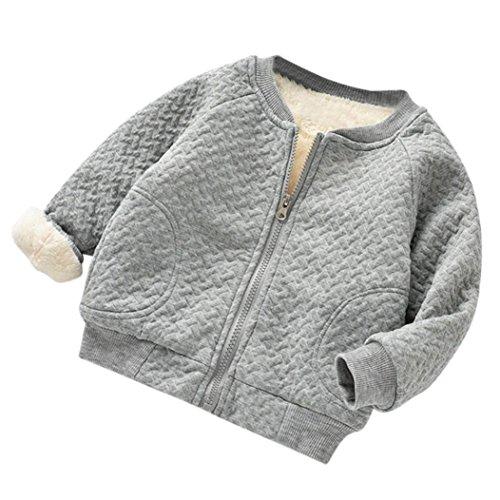 Mantel für 0-2 Jahre alt Baby, Janly Kleinkind warme dicke Bomberjacke Jungen Mädchen Plaid Zip grundlegende Jacke Tops (18-24 Monate, Graue) (Top Haut Zip)