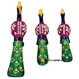 Jaipuri Haat handicrafted set of 3 showpiece Peacock Made of Pure lakh and paper matche for decoration and Gift purpose (12x11 CM)