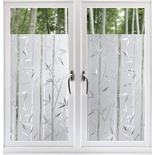 rabbitgoo 3D Statisch Haftende Fensterfolie Bambus Dekofolie Sichtschutzfolie Fensterschutzfolie Selbsthaftend Anti-UV 90 x 200cm