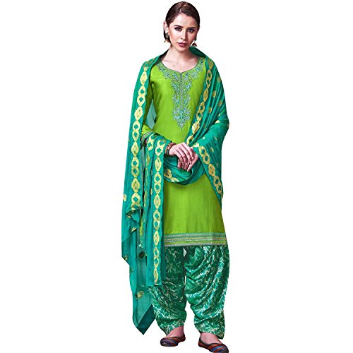 LADYLINE Womens Silk Embroidered Patiala Salwar Suit Un-Stitched Dress Material (Shangar-2-4052)