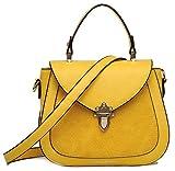 collezione alessandro Modische Damen Handtasche und Umhängetasche mit abnehmbarem, langen Trageriemen, ca.22x17x8cm, und RV-Fach hinten und innen (gelb)