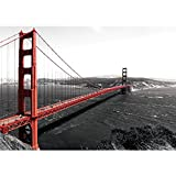 Vlies Fototapete PREMIUM PLUS Wand Foto Tapete Wand Bild Vliestapete - Golden Gate Bridge Wasser USA schwarz-weiß. Rot - no. 429, Größe:200x140cm Vlies