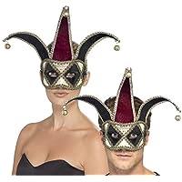 Uomo Donna Gotico Arlecchino Veneziano Medievale Giullare Di Corte Mascherata Di Halloween Maschera Maschera