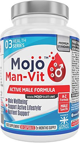 MOJO MAN-VIT - Männliche Tagesvitamine des Mannes Multivitamin Multimineral Men Supplements Hochdosierte Formel mit Vitamin A B E B B2 B3 B5 B6 B12 L-Glutamine, Zinc, Fer, Biotine, Magnésium