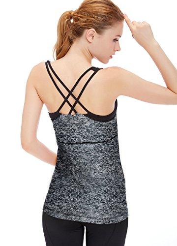 icyzone Damen Fitness Trainings Shirt mit BH - X Rücken Sport Gym Top Oberteile (S, Grey Melange)