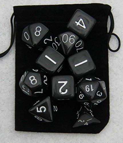 conjunto de 10 dados poliédricos , humo de color negro , con la bolsa