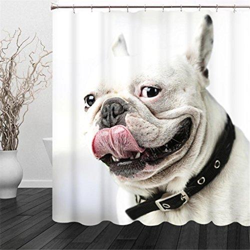 al der Hund Spat Out seine Zunge Digital Printing Polyester Stoffe Vorhang für die Dusche verschönern das Badezimmer Wasserdicht und Mehltau okklusion Sichtschutz Cut Off Gardinen aufhängen, Polyester, farblos, 165*180cm (Streifen-dusche-szene)