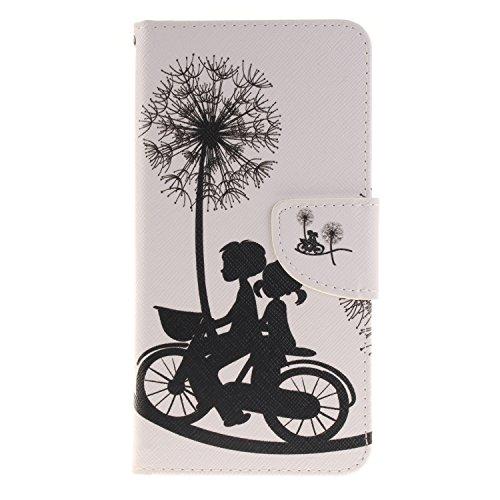 AllDo Housse iPhone 7 PLUS Etui PU Cuir Portefeuille Coque Souple Flexible Housse Ultra Mince Etui folio à rabat en simili cuir Cas Motif Mode Couverture Anti Rayure Coquille Anti Choc Flip Wallet Cas Pissenlit Bicyclette